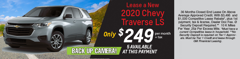 Lease a new 2020 Traverse LS for $249 per month plus tax