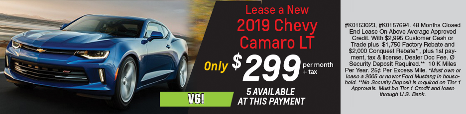 Lease a new 2019 Camaro LT for $299 per month plus tax