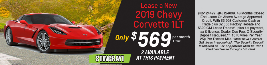 Lease a new 2019 Corvette 1LT Stingray for $569 per month plus tax