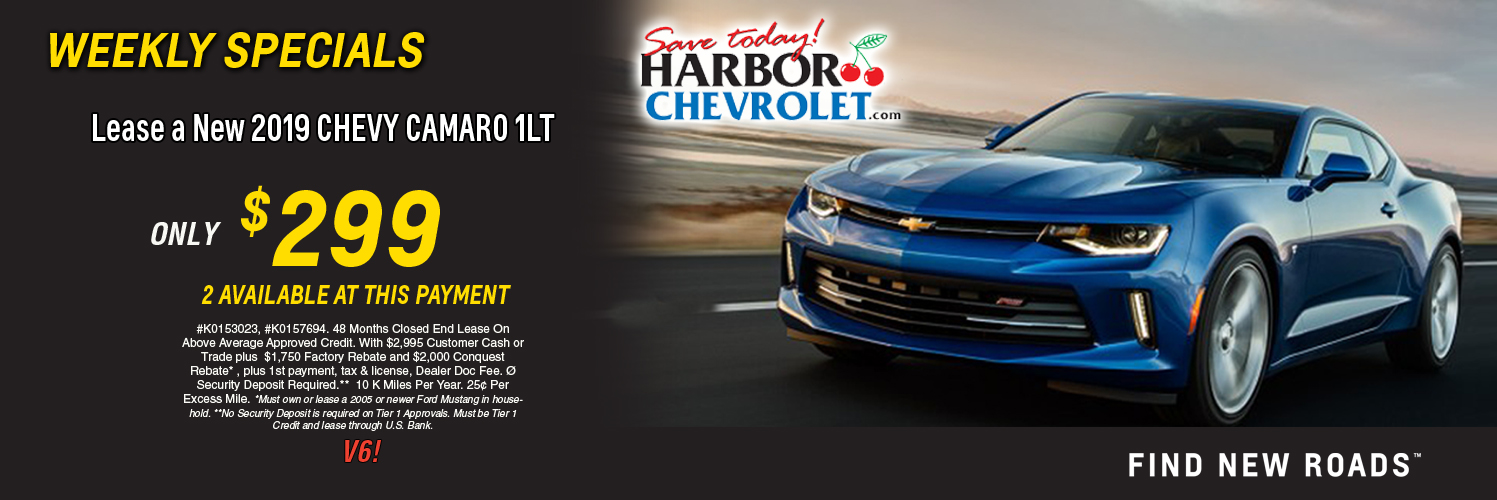Lease a new 2019 Chevy Camaro 1LT only $299