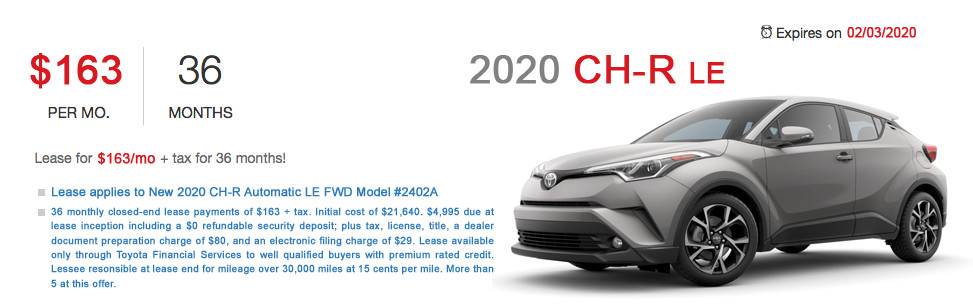 Fremont Toyota CH-R Lease Special Offer