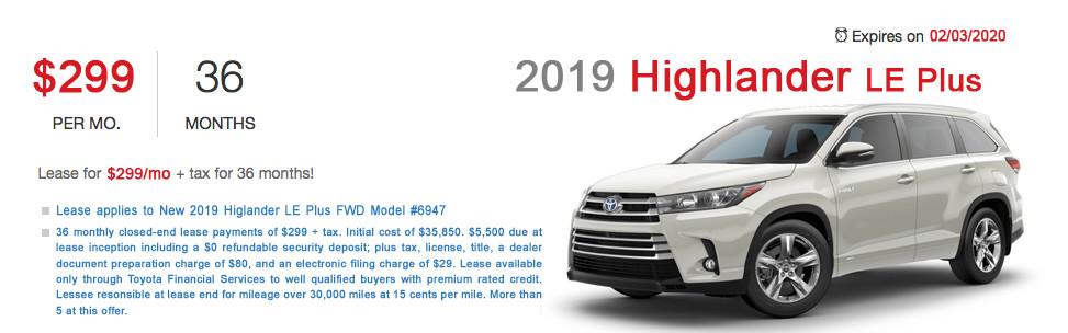 Fremont Toyota Highlander Lease Special