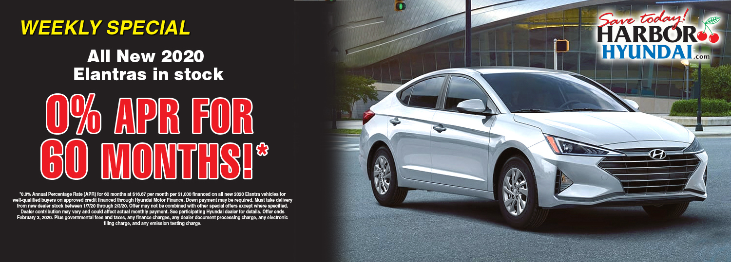 Weekly Special New 2020 Elantra 0% APR for 60 months, to well qualified buyers on approved credit