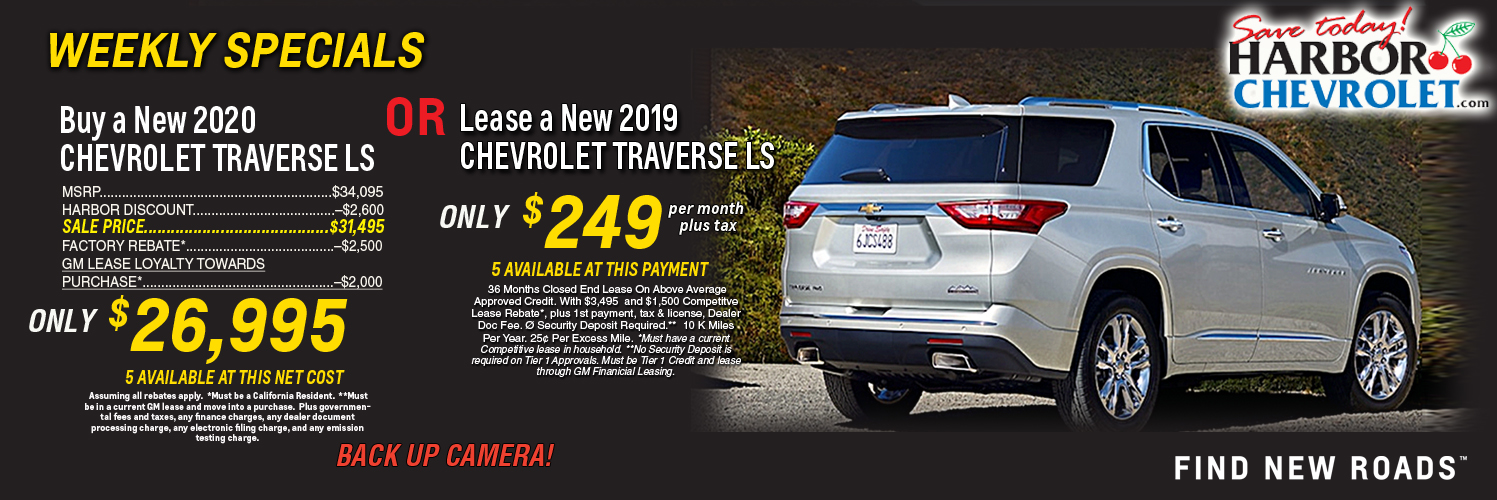 Buy new 2020 Traverse LS for $26,996 or Lease for $249 per month plus tax