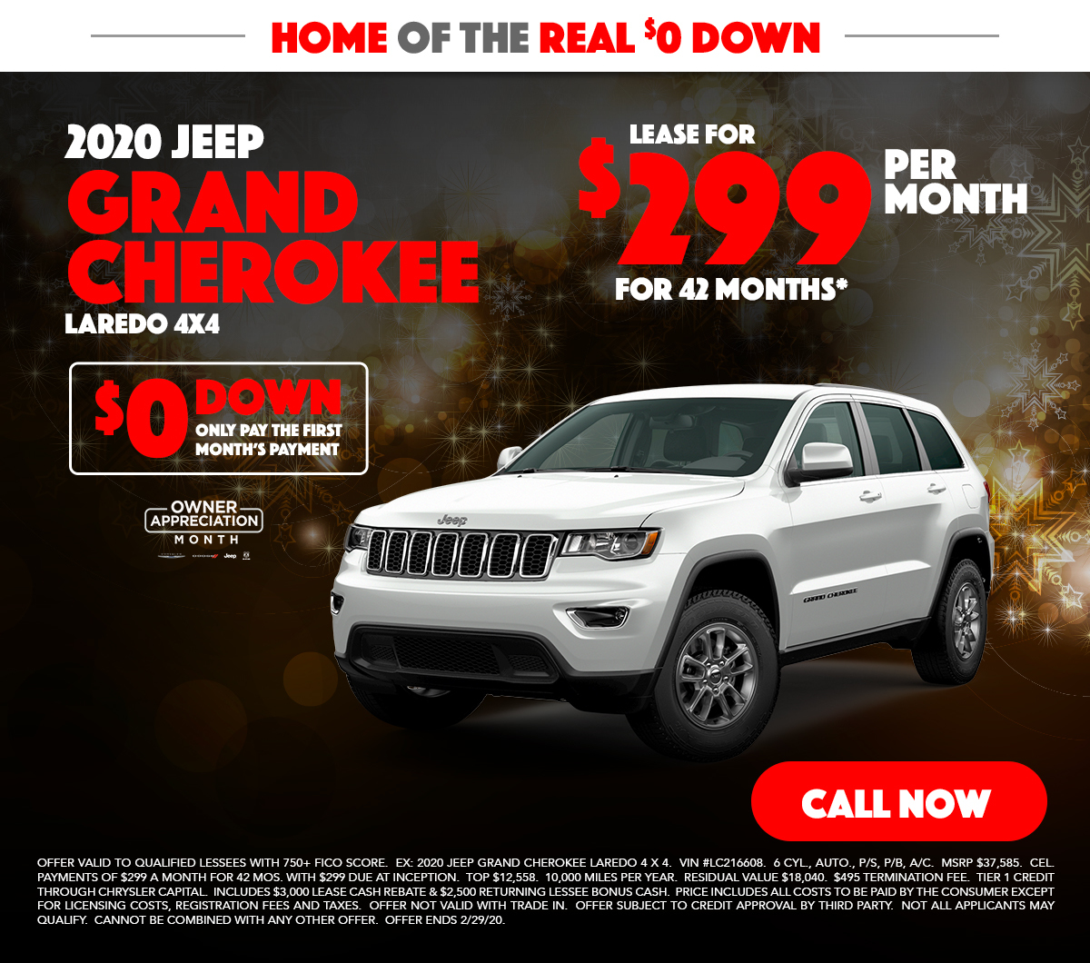 2020 Jeep Grand Cherokee 4x4 Lease Special