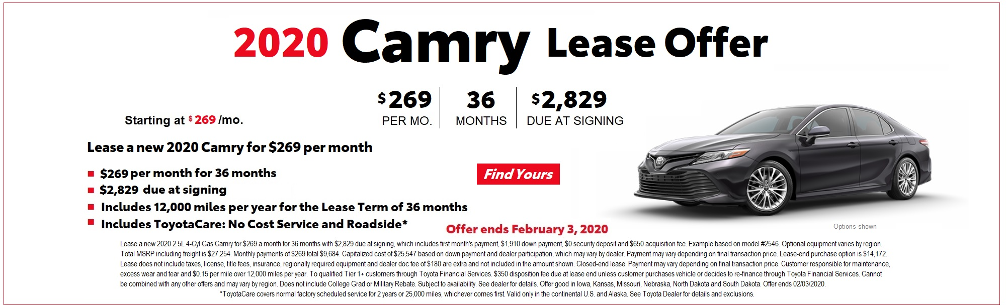 2020 Camry Lease Offer January 2020 at Toyota of Iowa City