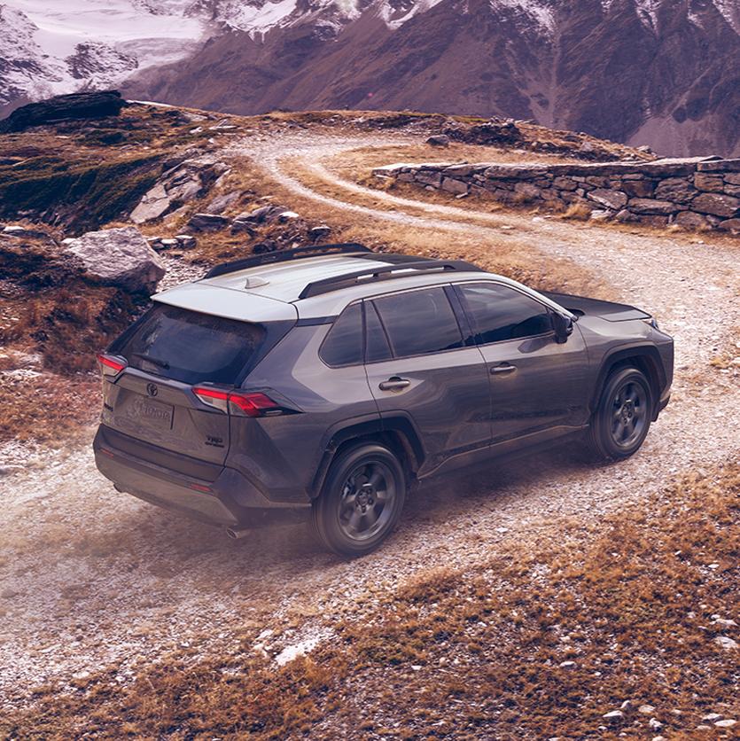 Compare the 2020 Toyota RAV4 vs. the Honda CR-V crossovers at Superior Toyota | Black RAV4 78R Mountain Motion Sq