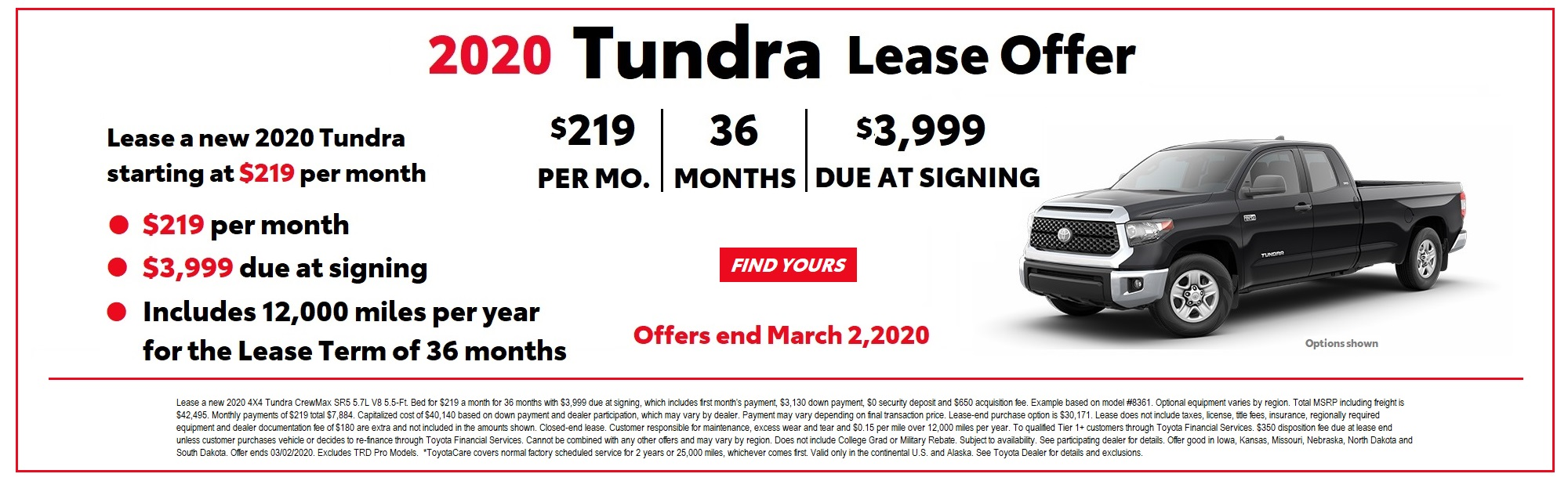 2020 Tundra Lease Offer February 2020