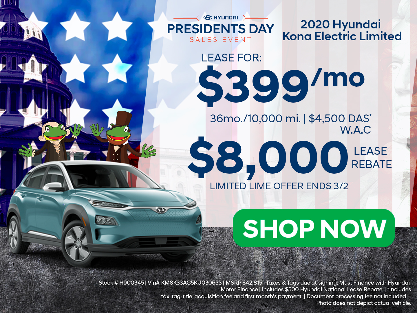 Preston Hyundai Presidents' Day Event Kona Electric Offer