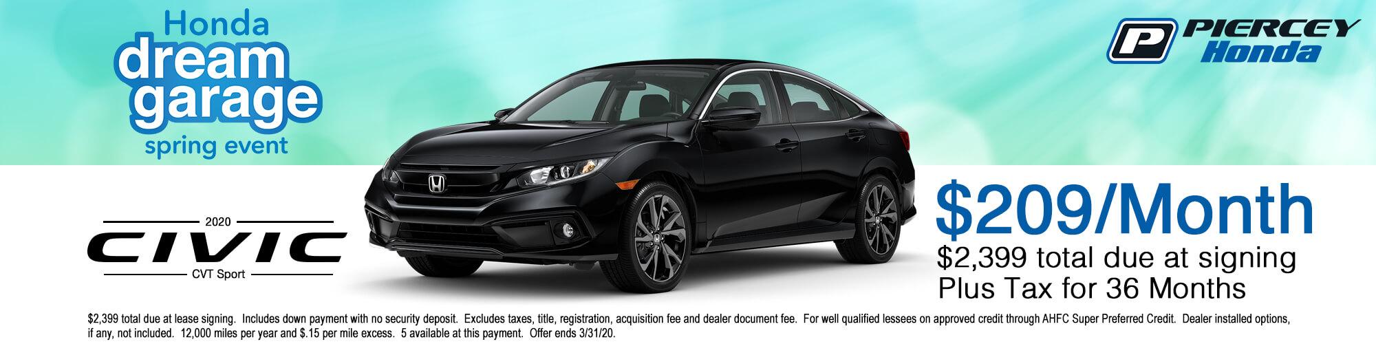 2020 Honda Civic Sport Lease Offer