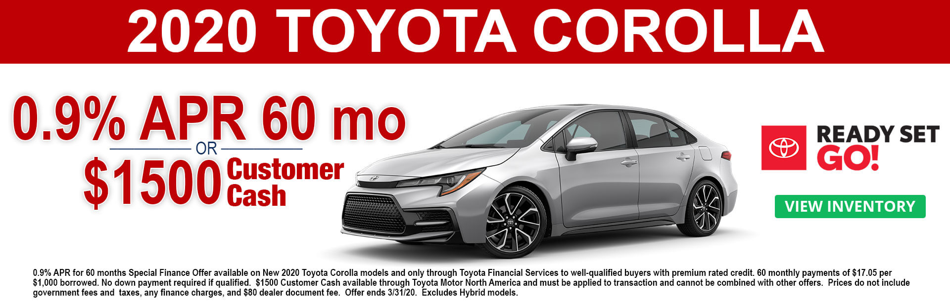 2020 Toyota Corolla APR and Cash Offer