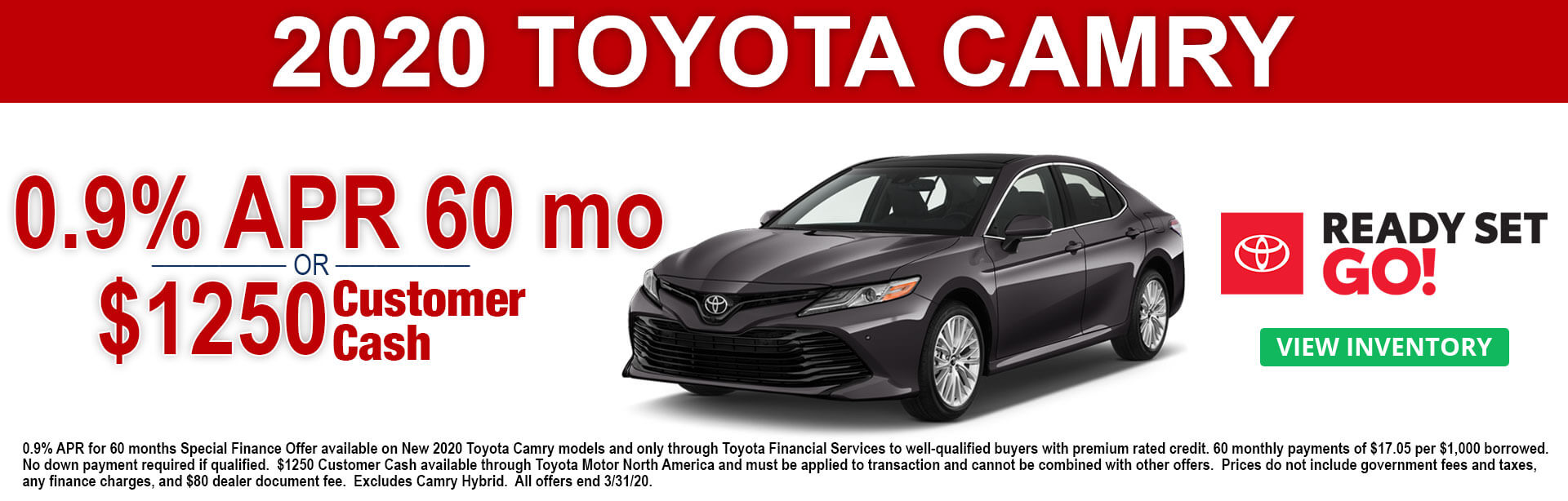 2020 Toyota Camry APR and Customer Cash Offers