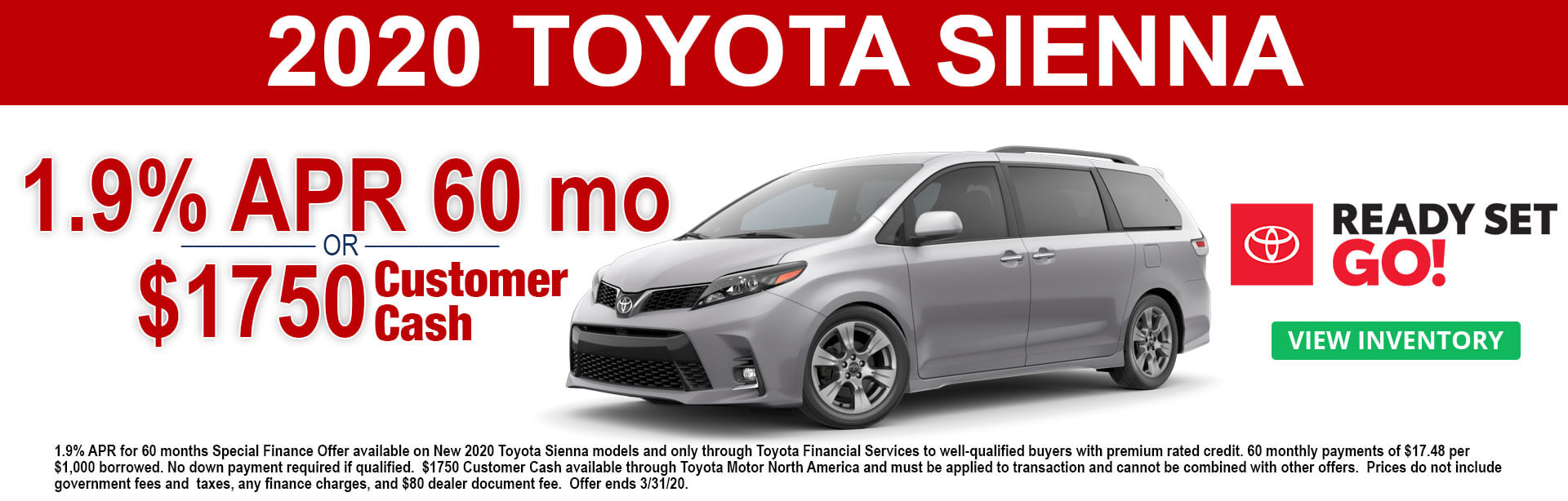 2020 Toyota Sienna APR and Cash Offer