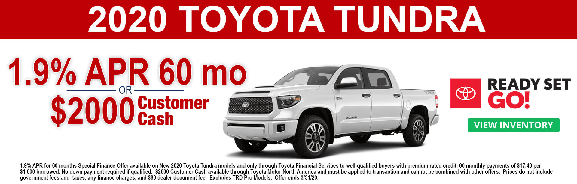 2020 Toyota Tundra Customer Cash and APR Offer