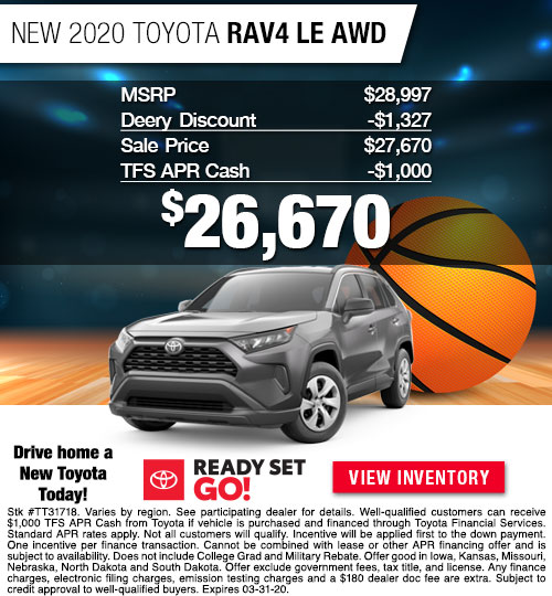$26,670 Offer on a New 2020 Toyota RAV4 LE AWD at Dan Deery Toyota