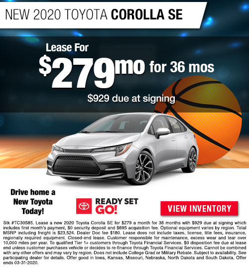 Lease for $279/MO for 36 Months on a New 2020 Toyota Corolla SE at Dan Deery Toyota