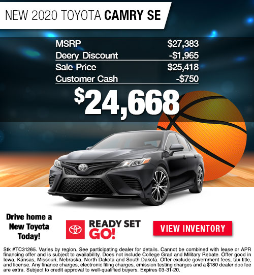 $24,668 Offer on a New 2020 Toyota Camry SE at Dan Deery Toyota
