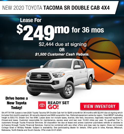 Lease for $249/MO for 36 Months on a New 2020 Toyota Tacoma SR Double Cab 4x4 at Dan Deery Toyota