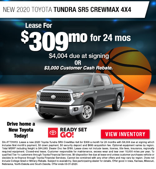 Lease for $309/MO for 24 Months on a New 2020 Toyota Tundra SR5 CrewMax 4x4 at Dan Deery Toyota