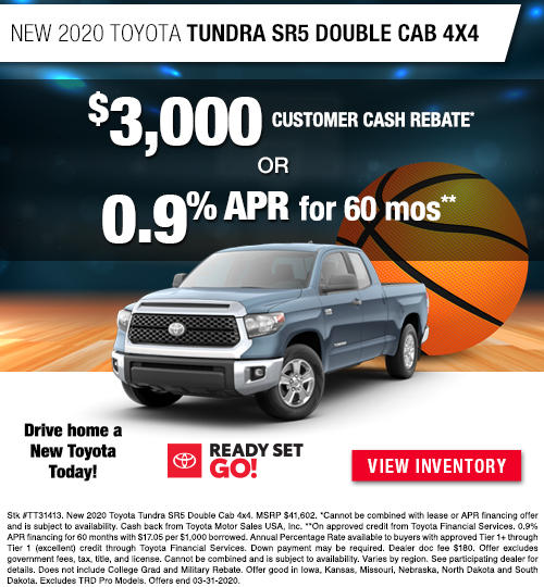 $3,000 Cash Back Offer or 0.9% APR for 60 Months on a New 2020 Toyota Tundra SR5 Double Cab 4x4 at Dan Deery Toyota