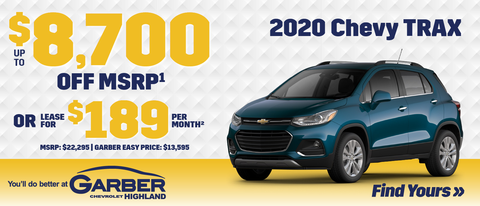 2020 Chevy Trax | SAVE up to $8700 off MSRP or LEASE for $189 per month | MSRP $22,295 | GARBER EASY PRICE $13,595
