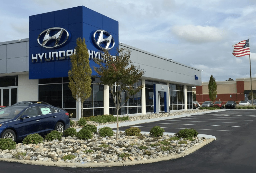A view from the parking lot of Lee Hyundai in Fayetteville