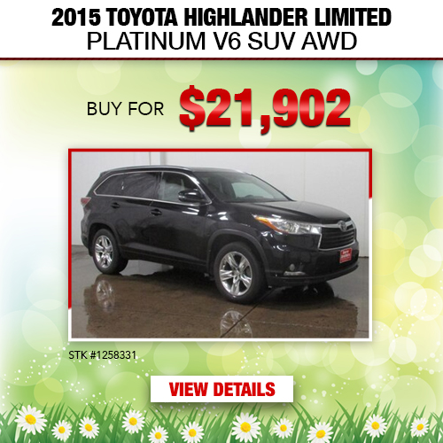 $21,902 Purchase Offer on a Used 2015 Toyota Highlander Limited Platinum V6 AWD