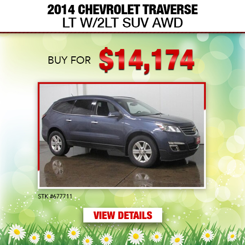 $14,174 Purchase Offer on a Used 2014 Chevrolet Traverse LT W/2LT SUV AWD