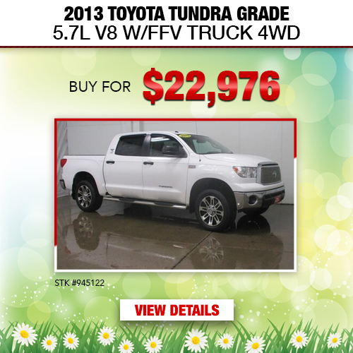 $22,976 Purchase Offer on a Used 2013 Toyota Tundra Grade 5.7L V8 W/FFV Truck 4WD