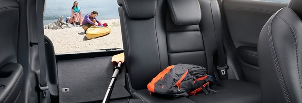 El asiento delantero del pasajero tambien puede plegarse para la carga de objetos largos.