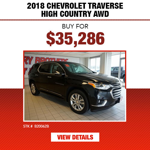 $35,286 Purchase Offer on a Used 2018 Chevrolet Traverse High Country AWD