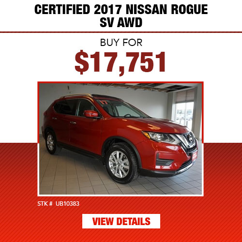 $17,751 Purchase Offer on a Certified 2017 Nissan Rogue SV AWD