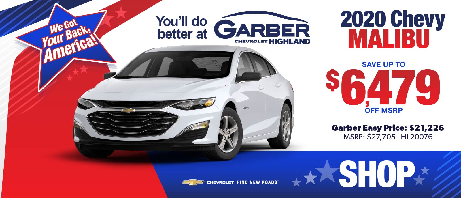 2020 Chevy Malibu - SAVE up to $6479 off MSRP | Garber Easy Price: $21,226 | MSRP $27,705 #HL20076