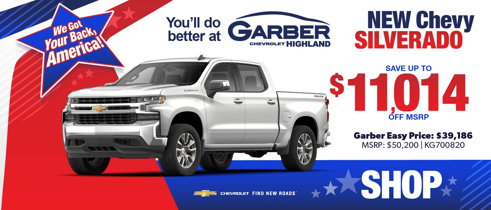 NEW Chevy Silverado - SAVE up to $11,014 off MSRP | Garber Easy Price: $39,186 | MSRP $50,200 #KG700820