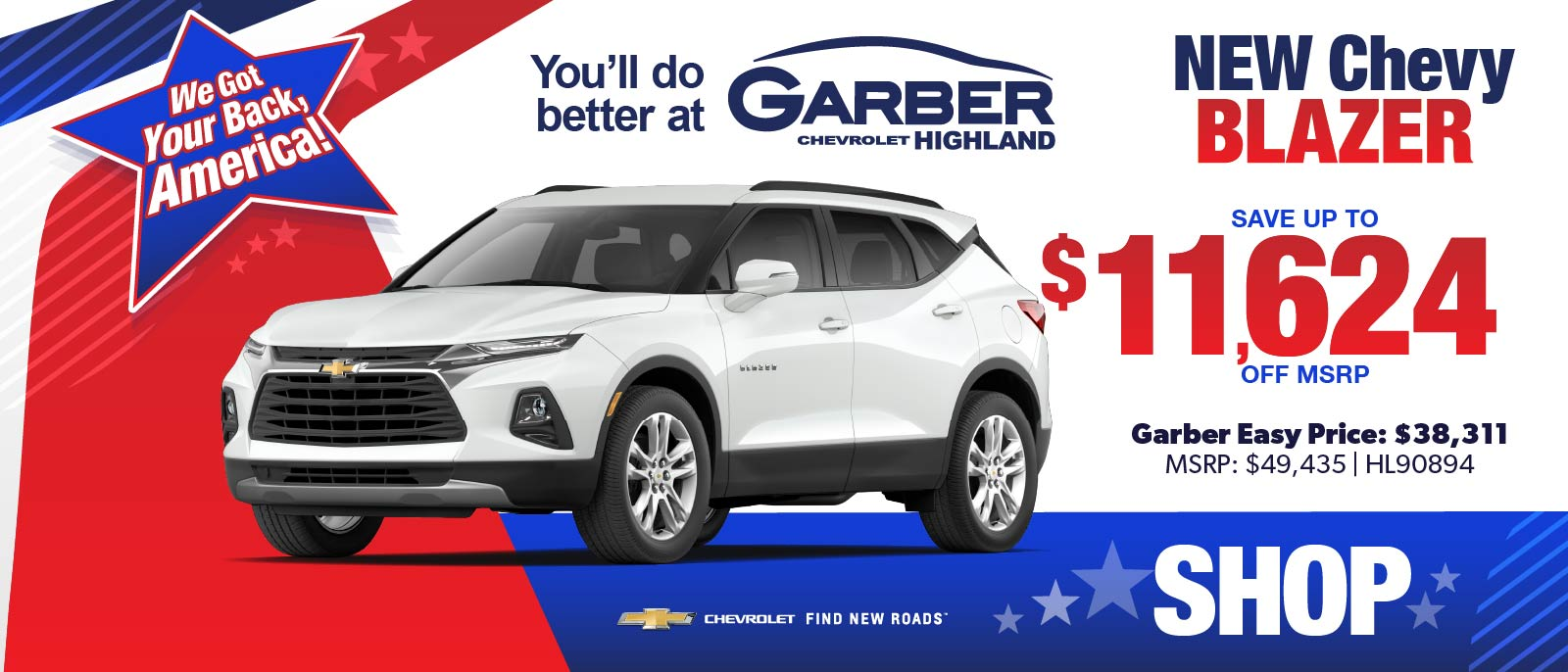 NEW Chevy Blazer - SAVE up to $11,624 off MSRP | Garber Easy Price: $38,311 | MSRP $49,435 #HL90894