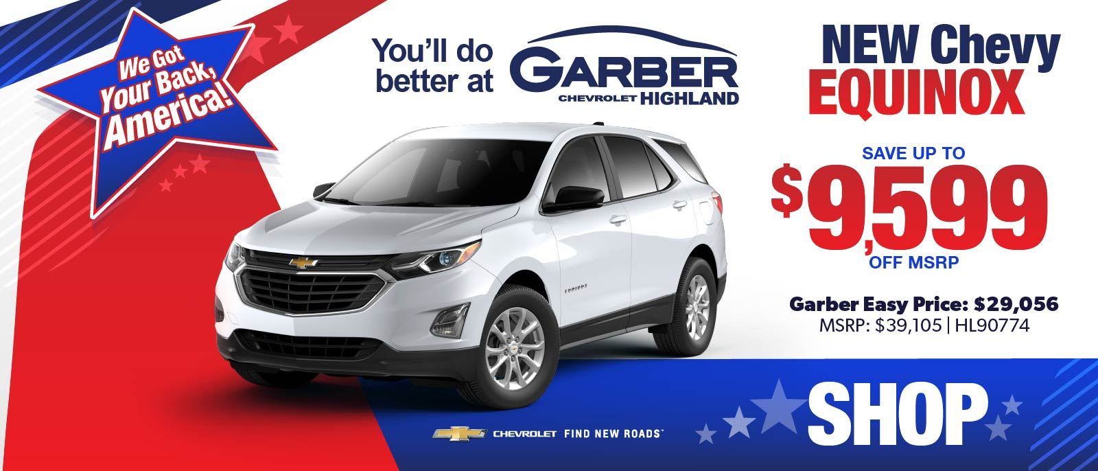 NEW Chevy Equinox - SAVE up to $9599 off MSRP | Garber Easy Price: $29,056 | MSRP $39,105 #HL90774