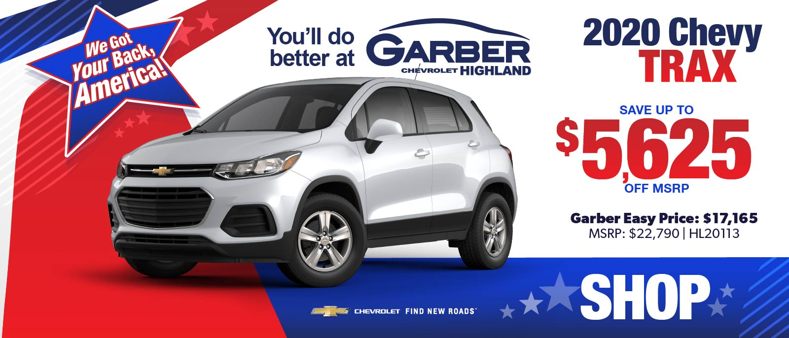 2020 Chevy Trax - SAVE up to $5625 off MSRP | Gaber Easy Price: $17,165 | MSRP $22,790 #HL20113