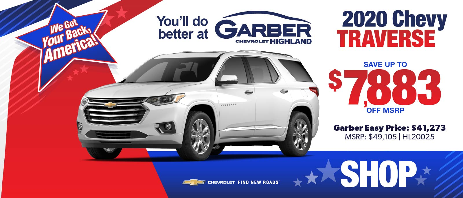 2020 Chevy Traverse - SAVE up to $7883 off MSRP | Garber Easy Price: $41,273 | MSRP $49,105 #HL20025