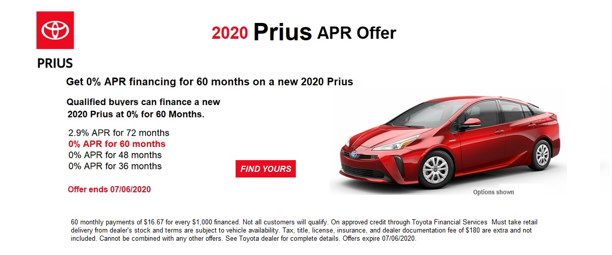 0% APR financing for 60 months on a new 2020 Prius June  (Prius Prime excluded)