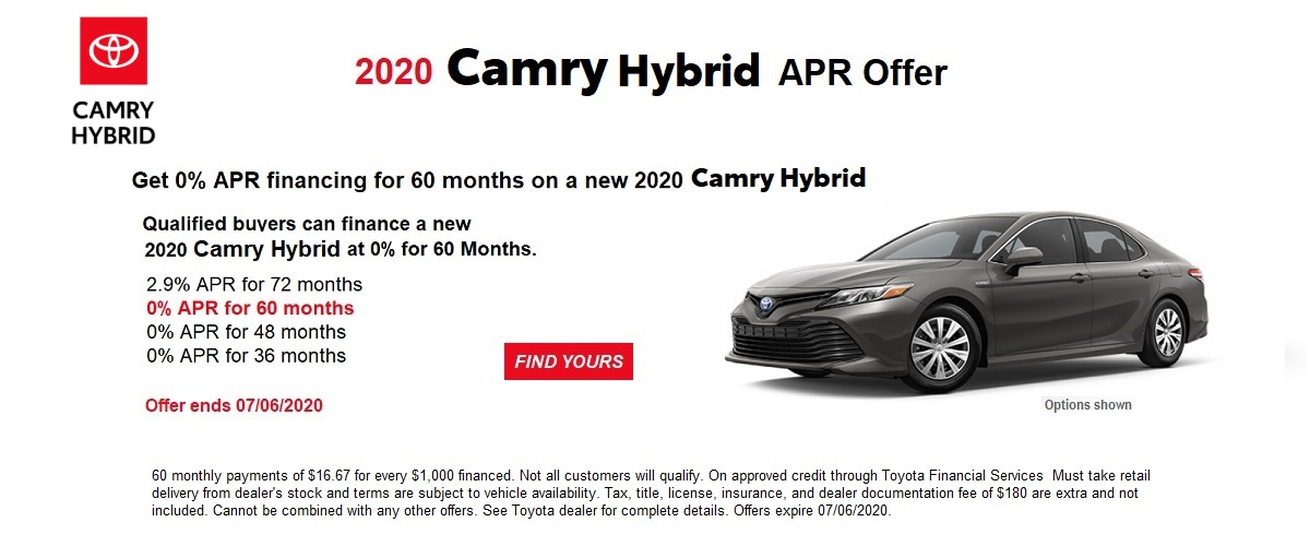 0% APR financing for 60 months on a new 2020 Camry Hybrid June