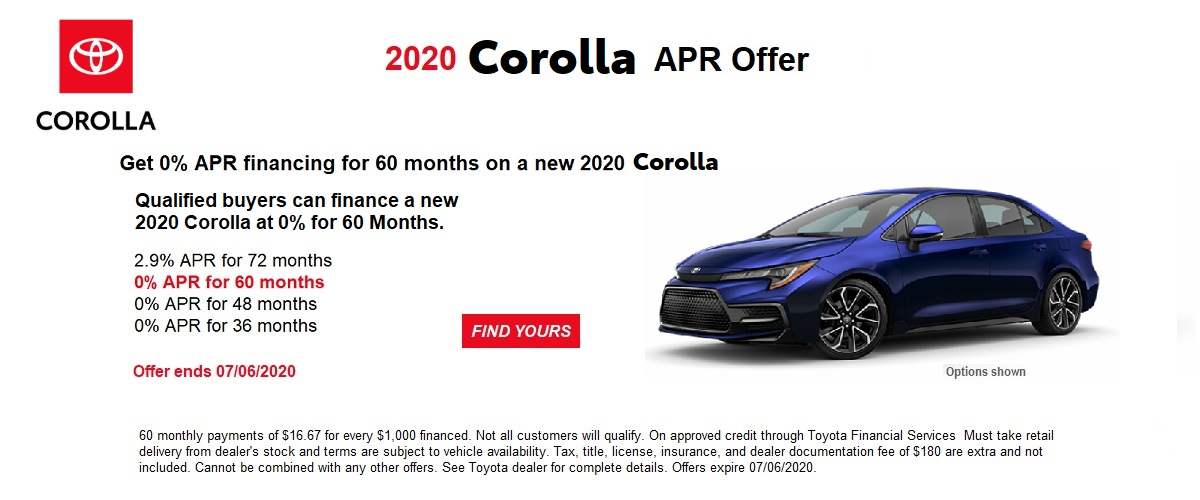 0% APR financing for 60 months on a new 2020 Corolla June