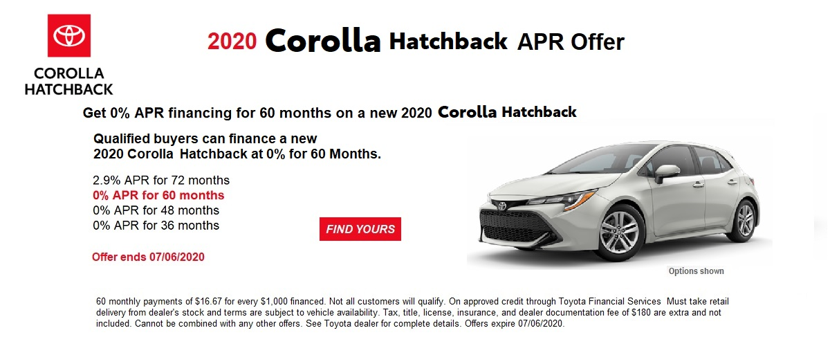 0% APR financing for 60 months on a new 2020 Corolla Hatchback
