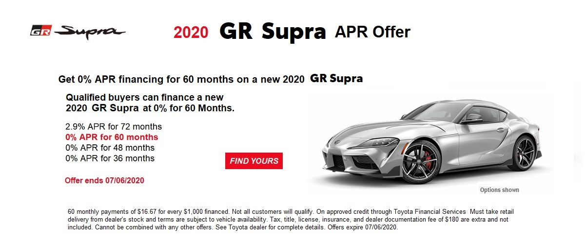 0% APR financing for 60 months on a new 2020 GR Supra June