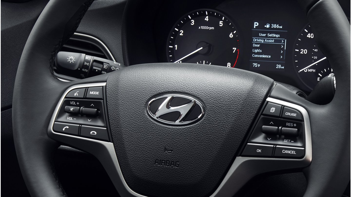 2020 Hyundai Accent Available Leather-Wrapped Steering Wheel