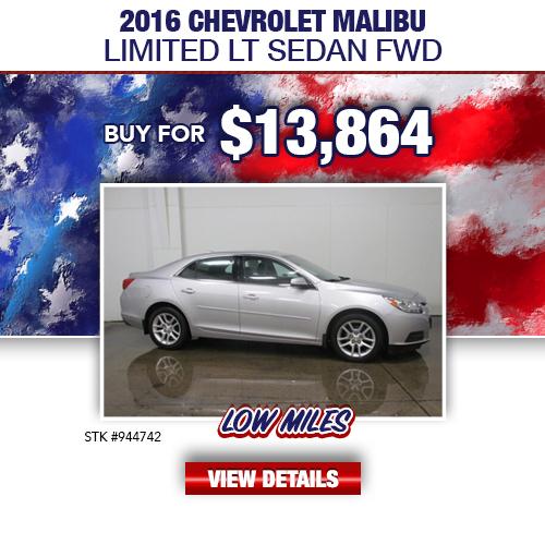 $13,864 Purchase Offer On A Used 2016 Chevrolet Malibu Limited LT Sedan FWD