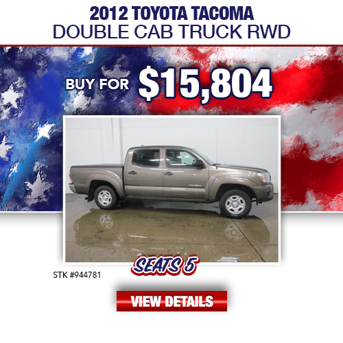 $15,804 Purchase Offer On A Used 2012 Toyota Tacoma Double Cab Truck RWD