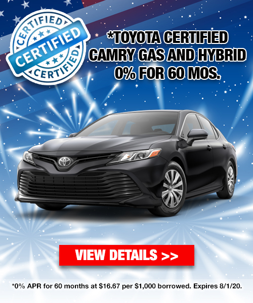 0% For 60 Months on a Toyota Certified Camry Gas and Hybrid