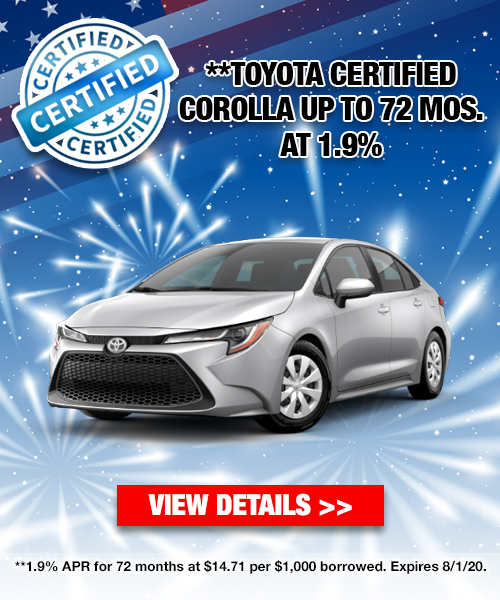 1.9% for 72 Months on a Toyota Certified Corolla