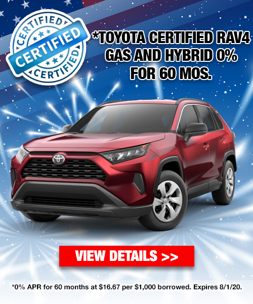 0% For 60 Months On A Toyota Certified Rav4 Gas and Hybrid