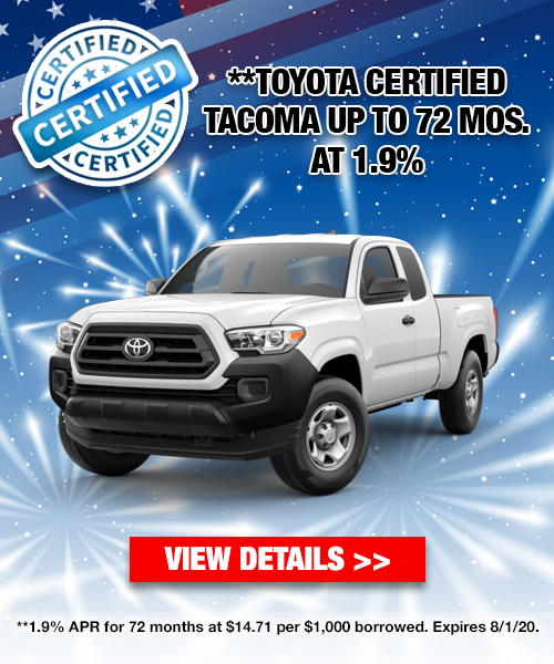 1.9% For 72 Months On A Toyota Certified Tacoma
